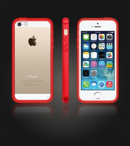 Clear Back Gummy Case iphone 5/5S/SE - Red