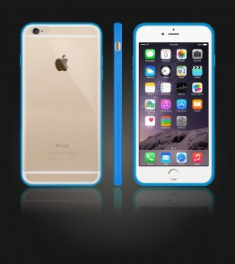 Clear Back Gummy Case iphone 6 Plus/6S Plus - Light Blue