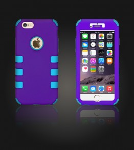 Hybrid Protector Cover iphone 6/6S - Purple/Light Blue