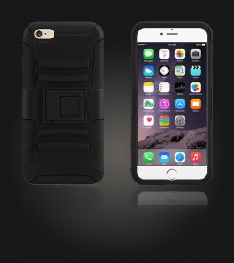 Rugged Hybrid Case Belt Clip Holster iphone 6 Plus/6S Plus - Black