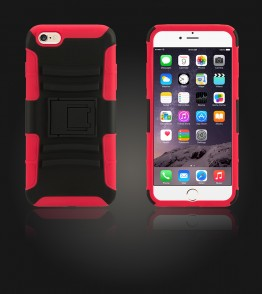 Rugged Hybrid Case Belt Clip Holster iphone 6 Plus/6S Plus - Red