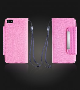 Lychee PU leather wallet iPhone 5C - Pink