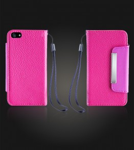 Lychee PU leather wallet iPhone 5C - Hot Pink