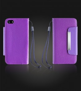 Lychee PU leather wallet iPhone 5C - Purple