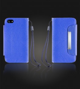 Lychee PU leather wallet iPhone 5C - Blue