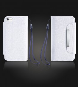 Lychee PU leather wallet iPhone 5/5S/SE - White