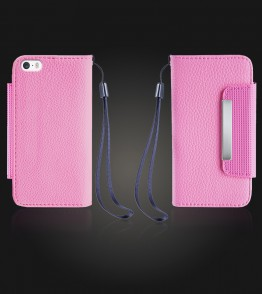Lychee PU leather wallet iPhone 5/5S/SE - Pink