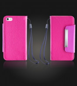 Lychee PU leather wallet iPhone 5/5S/SE - Hot Pink