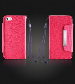 Lychee PU leather wallet iPhone 5/5S/SE - Red