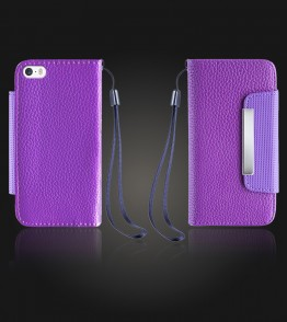 Lychee PU leather wallet iPhone 5/5S/SE - Purple