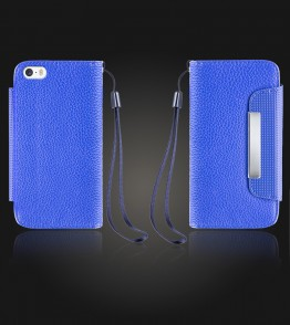 Lychee PU leather wallet iPhone 5/5S/SE - Blue