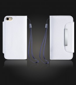 Lychee PU leather wallet iPhone 6/6S - White