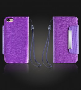Lychee PU leather wallet iPhone 6/6S - Purple