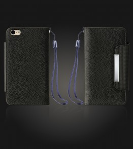 Lychee PU leather wallet iPhone 6 Plus/6S Plus - Black