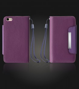 Lychee PU leather wallet iPhone 6 Plus/6S Plus - Purple