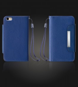 Lychee PU leather wallet iPhone 6 Plus/6S Plus - Blue