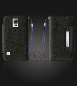 Lychee PU leather wallet Galaxy Note 4 - Black