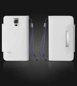 Lychee PU leather wallet Galaxy S5 - White