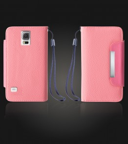 Lychee PU leather wallet Galaxy Note 4 - Pink