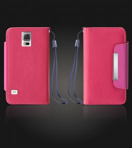 Lychee PU leather wallet Galaxy Note 4 - Hot Pink
