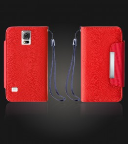 Lychee PU leather wallet Galaxy Note 4 - Red