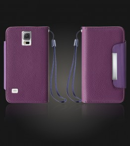 Lychee PU leather wallet Galaxy Note 4 - Purple