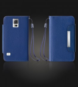 Lychee PU leather wallet Galaxy Note 4 - Blue