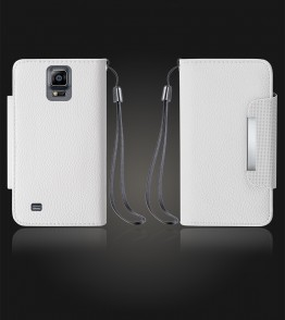 Lychee PU leather wallet Galaxy Note 4 - White
