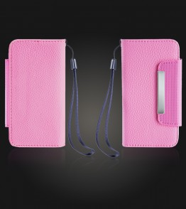 Detachable Lychee PU wallet iPhone 5C - Pink