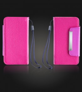 Detachable Lychee PU wallet iPhone 5/5S/SE - Hot Pink