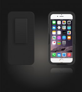 Holster Combo Carbon Case with Kick-Stand & Belt Clip iPhone 6/6S - Black