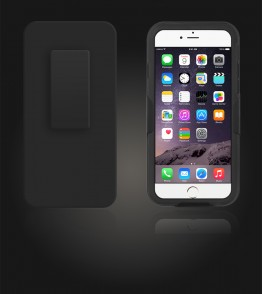 Holster Combo Carbon Case with Kick-Stand & Belt Clip iPhone 6 Plus/6S Plus - Black