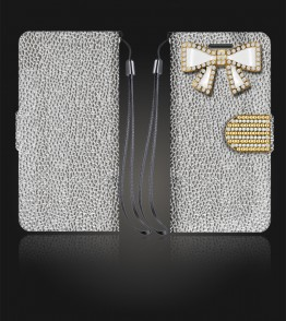 Diamond Bow Wallet iphone 6 Plus/6S Plus - Silver