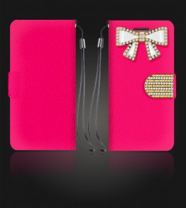 Diamond Bow Wallet iphone 6 Plus/6S Plus - Hot Pink