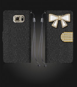 Diamond Bow Wallet Galaxy S6 - Black
