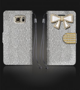 Diamond Bow Wallet Galaxy S6 - Silver