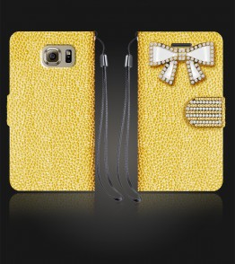 Diamond Bow Wallet Galaxy S6 - Gold