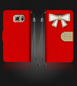 Diamond Bow Wallet Galaxy S6 - Red