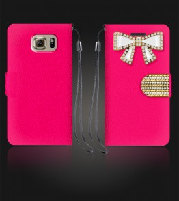 Diamond Bow Wallet Galaxy S6 - Hot Pink