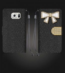 Diamond Bow Wallet Galaxy S6 edge - Black