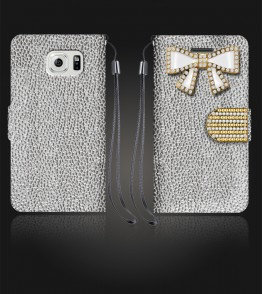 Diamond Bow Wallet Galaxy S6 edge - Silver