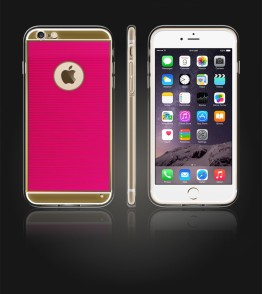 Gold TPU Case iPhone 6 Plus/6S Plus - Hot Pink