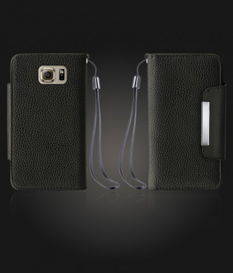 Lychee PU leather wallet Galaxy S6 - Black
