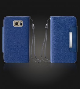 Lychee PU leather wallet Galaxy S6 - Blue