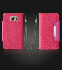Lychee PU leather wallet Galaxy S6 - Hot Pink