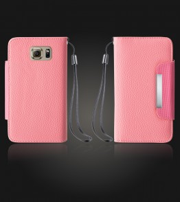 Lychee PU leather wallet Galaxy S6 - Pink