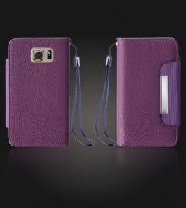 Lychee PU leather wallet Galaxy S6 - Purple