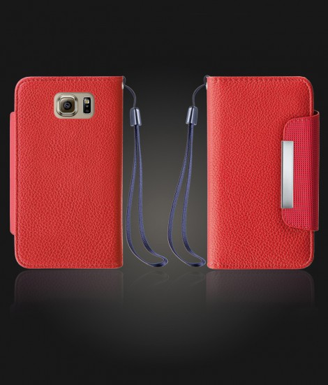 Lychee PU leather wallet Galaxy S6 - Red