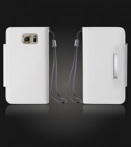 Lychee PU leather wallet Galaxy S6 - White