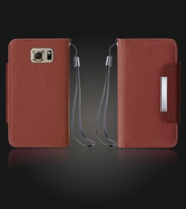 Lychee PU leather wallet Galaxy S6 - Brown